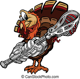 Cartoon Vector Image of a Thanksgiving Holiday Lacrosse...
