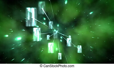 Green images and glows floating against a black background