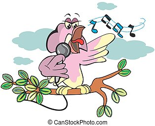 Singing bird, illustration - Singing bird, on a tree branch...