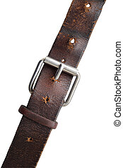 Old Belt - Old brown leather belt with steel clasp on white...