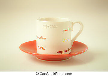 red cup coffee on cream color background