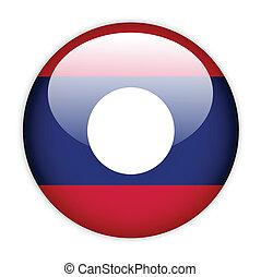 Laos flag button on white