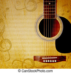 musical background with guitar - musical square background...