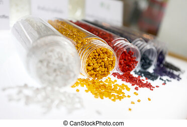 Colorful of plastic polymer granules