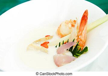 Spicy shrimp curry in coconut milk