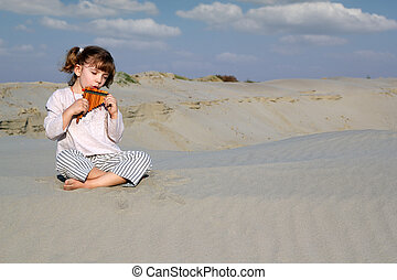 little girl play panpipe