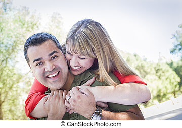 Attractive Mixed Race Couple Piggyback at the Park