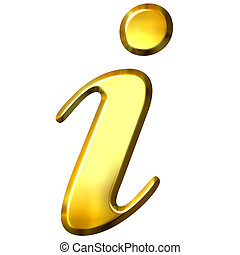 3D Golden Information Symbol - 3d golden information symbol...