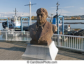 A statue of Simon Fraser - Fraser River in New Westmenster...