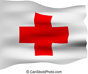 3D Red Cross Flag - 3d red cross flag isolated in white