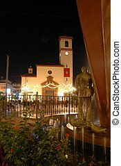 Church at night, Fuengirola, Spain. - Church (Iglesia de...
