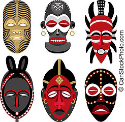 African Masks 2 - Six African masks. No transparency and...