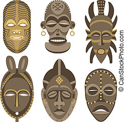 African Masks - Six African masks. No transparency and...