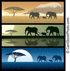 Africa Landscapes 2 - Three African landscapes with...