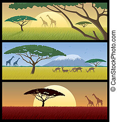 Africa Landscapes - Three African landscapes Good for using...