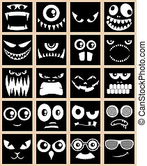 Avatars Black - Set of 20 avatars in black and white.