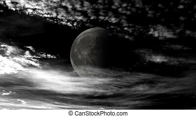 Time Lapse Clouds and Moon High Contrast Night Sky