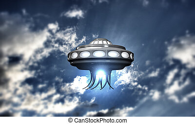 ufo spaceship take off in cloudy blue sky