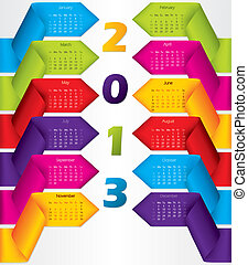 Colorful ribbon calendar design for 2013 - Colorful ribbon...