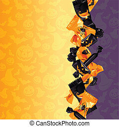 Colorful Halloween candy background - Orange and purple...