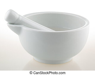 White porcelain mortar and pestle set -