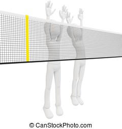 3d man volley players blocking on white background