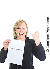 Excited young woman with certficate - Excited young...