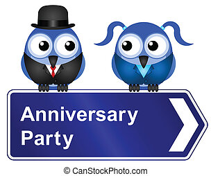 anniversary party - Comical anniversary party sign isolated...