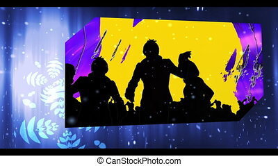 Montage of party and clubbing clips on digital blue neon...