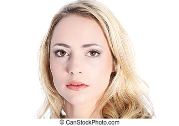 Woman with expressionless face - Woman with an...