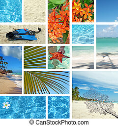 Tropical collage. Exotic travel. Caribbean sea Dominican...