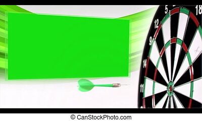 Slow-motion arrow flying at dartboard with appearing chroma...