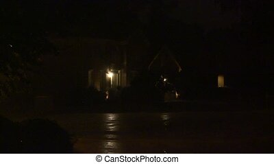 night rain and lightning - A night shot of heavy rain and...