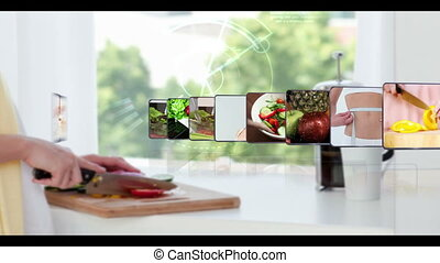 Montage of healthy eating clips on kitchen scene background