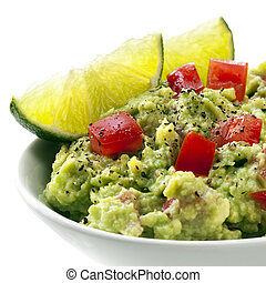 Bowl of Guacamole with Lime - Bowl of guacamole with lime...