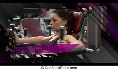 Montage of gym clips on digital black and purple background