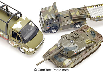 military transport close up - object on white - toy military...