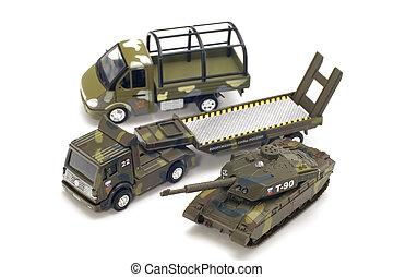 military transport - object on white - toy military...