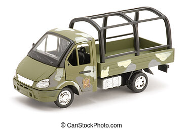 military truck on white - object on white - toy military...