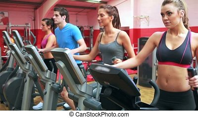 Group training on a step machine in gym