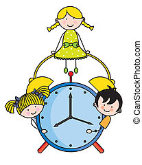 Children with an alarm clock