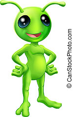 Cute cartoon alien illustration - Cartoon green happy...