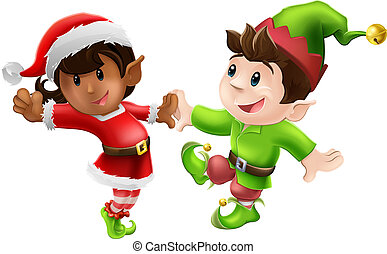 Christmas Elves Dancing - Two happy Christmas elves enjoying...