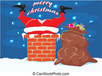 Santa in the chimney - Christmas - Santa Claus with a hole...
