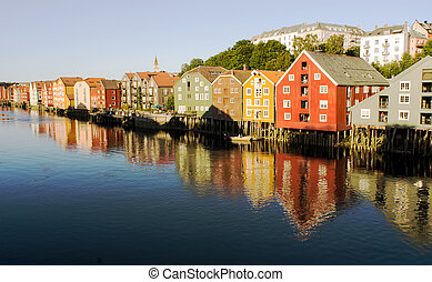 Trondheim Norway - famous house wall in Trondheim Norway