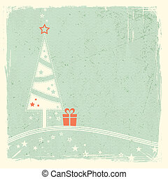 Christmas tree with present and stars - Illustration of a...