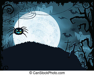 Blue Halloween background with scary spider - Blue shaded...