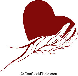 A heart in a hand - Red heart in a hand with veins icon or...