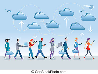 Cloud Computing Walking4 - Eight different characters, men...