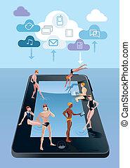 digital, Tablette, als, schwimmender, Teich